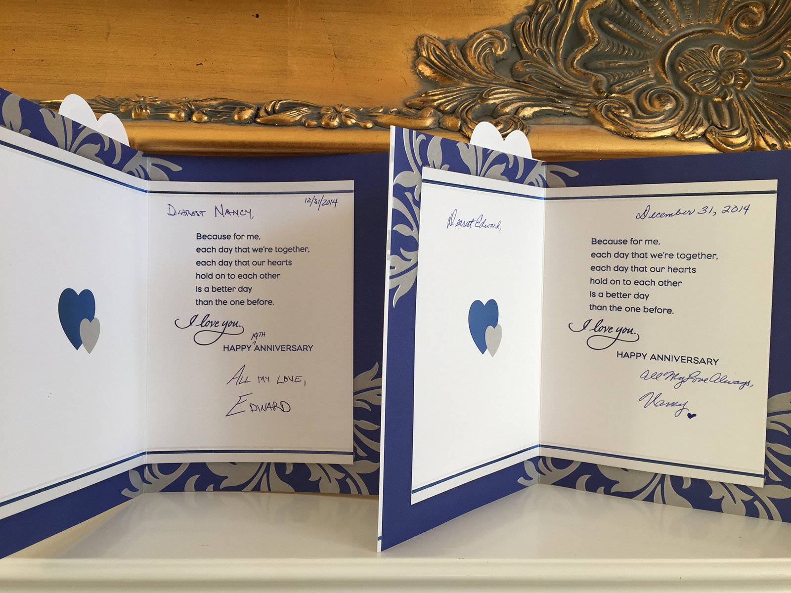 Anniversary cards are identical twins!